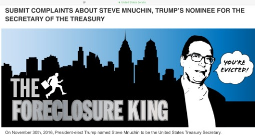 US Senate Dems Mnuchin The Foreclosure King